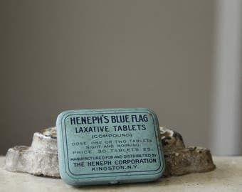 Antique Metal Tin, Early Medicine Compound, Vintage Drug Store & Apothecary, Heneph's Blue Flag Laxative Tablet's, Small Collectible Tin