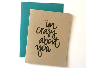Love Note - Crazy About You Note Card, Valentine Note Card, Valentines Stationery - Valentine Notes