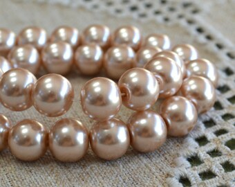 33pcs Bead Glass Pearl Round Champagne 12mm 16 Inches Strand