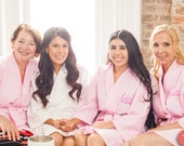 Free robe Set of 4 Personalized Monogrammed Spa Robes Wedding Party Bridesmaids Gifts front and back embroidery is included