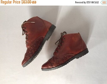 30% OFF WINTER SALE... chestnut leather woven ankle boots | lace up boots | 5.5 | 6