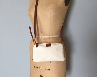 30% OFF SALE... chestnut leather and cotton purse | small messenger bag