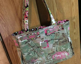 CUSTOM MADE Personalized Military Tote, Any branch!