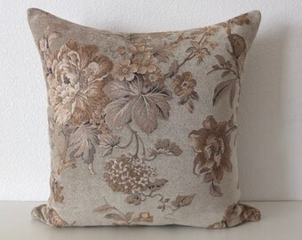 20x20 Pillow Cover Chenille Woven Floral Butterflies Monochrome Taupe Tone