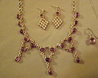 Vintage Lot Sterling Silver Amethyst 3 Drop & Pendant Necklaces 2 Pairs Pierced Earrings 8778