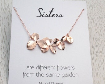 HOLIDAY SALE Sisters Necklace Gift, Hand Stamped Personalized Rose Gold Orchid Necklace, Bridesmaids Gift, Christmas Gifts, Birthday Mess...