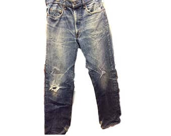 Vintage Levis 505 Mens 34 waist 30 length Red Tag Jeans Zipper Fly Dungarees Denim Boyfriend Jeans Hole Knee Distressed Stonewash High Waist
