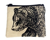 Reserved Listing For Hailey......Original Bear Print, Grizzly Pouch, Zipper Pouch