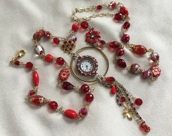 Festive Red, Silver and Gold Eclectic Working Watch Tassel Pendant Necklace