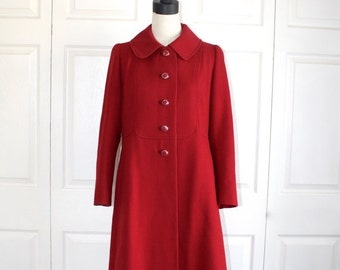 40% OFF SALE 1960s Wool Coat . Vintage Cranberry Red 60s Lilli Ann Style Exquisite Design Midi Coat . Peter Pan Collar . Size Medium 10 - 12