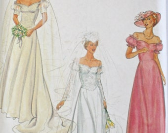 Romantic Wedding Dress . Bridesmaid . Bridal Gowns . 1980s Butterick 4235 Sleeve Variations . UNCUT Factory Folded Sewing Pattern . Bust 38
