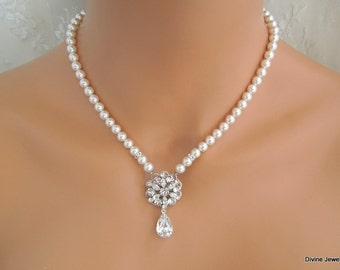 bridal pearl necklace, pearl necklace, Wedding Rhinestone necklace, swarovski crystal and pearl necklace, Statement necklace, ALEXANDRA