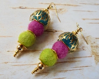 Lime Green, Pink and Aqua Funky Boho Earrings (3217)