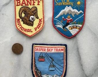 Vintage 1970s Collectible Ski Resort Patches - Banff, Sun Valley, Jasper