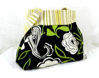 Shoulder Bag, Black and White, Summer Purse, Pleated Bag, Floral Motif, Green Accents, Graphic Print