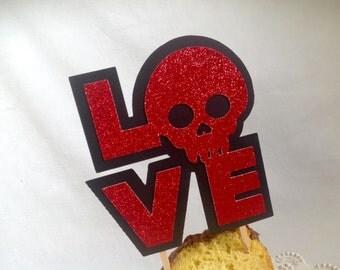Skull Cake Topper Valentine's Day Cake Topper