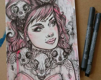 Skull Princess - Original 6x8 Inches Ink and Watercolor Illustration Woman Tattoo Art Cat Skull Lowbrow Painting Gift