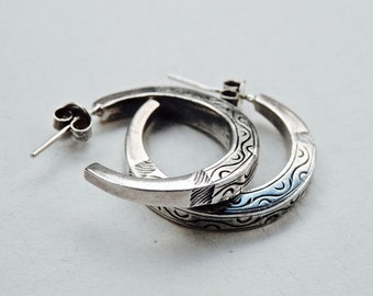 Vintage Hoop Earrings Etched Sterling Crescent Hoops Solid Sterling Earrings 925 Hippie Boho Style Silver Hoops Vintage Jewelry