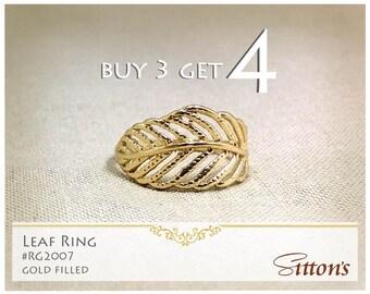 leaf gold filled ring, buy 3 get 4, minimal ring