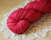 Hand Dyed Yarn / DK Weight / Red Fuchsia Rose Pink Orange Russet Superwash Merino Wool / Rouge