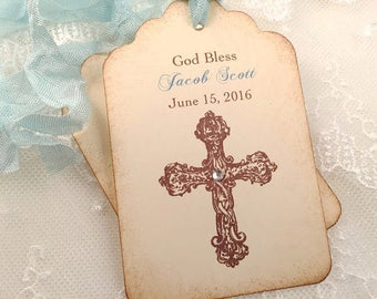 Boy Christening Tags Personalized Cross Baptism First Communion Set of 10