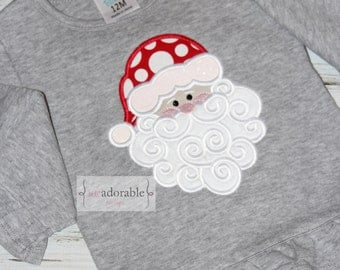 Santa Appliqued Christmas Shirt for Girls  with FREE PERSONALIZATION, Santa Claus, Girly Christmas Shirt, Personalized Christmas Shirt