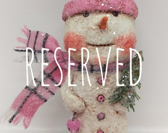 RESERVED FOR KATHY Paper Mache Snowman - Folk Art Snowman - Whimsical Snowman - Snowman Sculpture