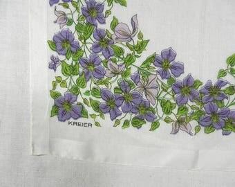 Handkerchief, Kreier, White with Lavender Flowers and Green Leaves, Rolled Hem