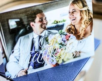 """Photo Thank You Card, Elegant Wedding Stationery, Navy Blue Event - """"Enchanting Vintage Flourish"""" Folded Photo Thank You Cards - DEPOSIT"""