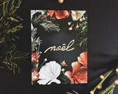 NOËL Christmas card - Eco Friendly Stationary featuring Botanical, Nature, Flower handmade paper crafts