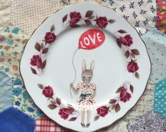 Balloon Bunny with Love Illustrated Vintage Plate