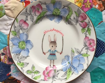 Reserved......This is Happiness Skipping Bunny with Pink and Blue Floral Vintage Illustrated Plate
