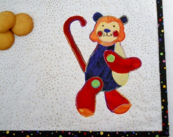 Toy Monkey Mini Placemat in Red Yellow Green and Blue
