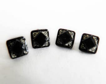 Tiny Black Glass Square Buttons