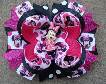 Minnie Mouse Hair Bow-Large Hair bow Hot Pink and Black Polka Dots Shocking pink and black Minnie Mouse Hair Bow