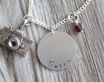 Camera Necklace Camera Gift Photographer Gift Necklace, Hand Stamped Pendant, Personalized Name and Birthstone Necklace, Camera Persoanlized