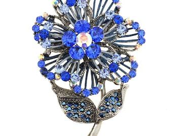 Blue Swarovski Crystal Flower Pin Brooch And Pendant 1013051