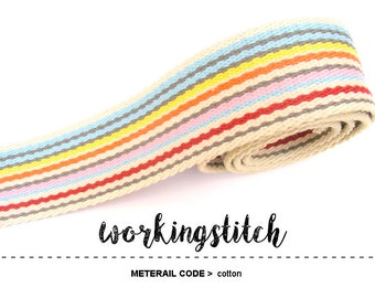 5yards 1.5 inch Small Strip Cotton Colorful WEBBING Heavy Duty for Bag Purse Tote Strap
