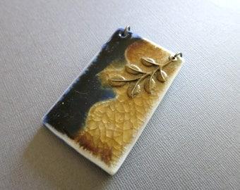 Pendant, Antique tone pendant, Handmade artistic Tibet pendant, Porcelain pendant with brass, Unique pendant