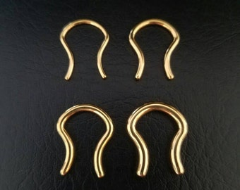 16g 14g 12g 10g Gold IP Septum Retainer Hide Your Piercing! 316lvm Stainless Steel Jewelry