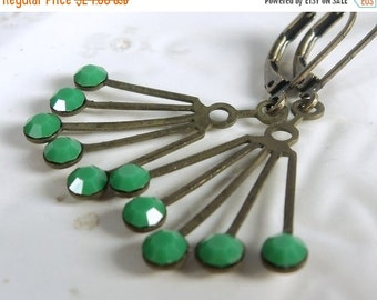 SALE Vintage Swarovski Art Deco brass fan with opaque green glass crystals rhinestones on antiqued brass lever-back ear-wires