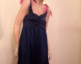 Mark Jacobs vintage style Navy and Pink Silk Jumper Dress M