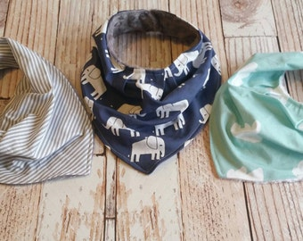 Baby Boy Bandana Bib - Baby Bib Set - Drool Bib - Baby Shower Gift - Navy Mint Grey Baby Bib - Baby Shower Gift - Elephant Baby Bib