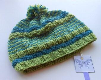 Slouch Beanie Hat, Kids Slouchy Beanies, Green Blue Stripe Pompom Hats, Knitted Beanie with Pom Pom, Unisex Knit Trendy Oversize Hats