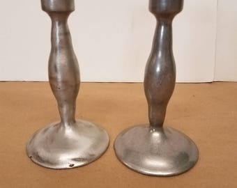 Vintage Pair of Pewter Candlestick Holders