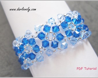 Beaded Bracelet Pattern - Blue Flower Bracelet (BB015) - Beading Jewelry PDF Tutorial (Digital Download)
