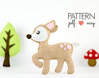 Deer Sewing Pattern, Felt Deer, Deer PDF Pattern, Felt Deer Pattern, Kawaii Deer, Softie  Toy, Ornament, Woodland Baby Mobile