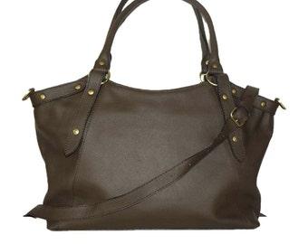 Coffee Brown Leather Bag Handbag Tote // Shoulder Cross Body Bag Elsa