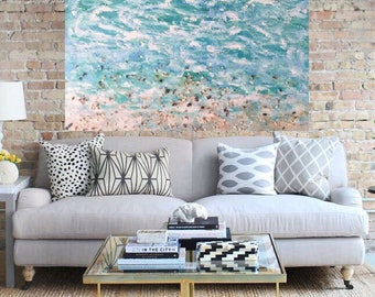 Seascape Ocean Beach  seashells Coastal Original Acrylic Mixed Media  Abstract Painting 36 x 36 x 1.75 Gallery wrapped canvas Ready to Ship