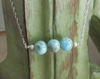 Larimar Beads and Sterling Silver Adjustable Length Necklace